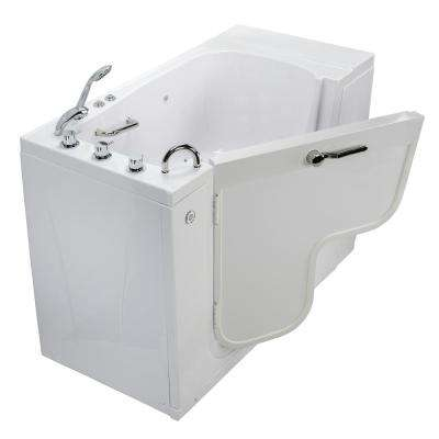 Wheelchair Transfer 52 in. Acrylic Walk-In Air Bath Bathtub in White with Faucet Set, Heated Seat, LH 2 in. Dual Drain