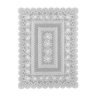 Rose Rectangle Off-White Polyester Tablecloth