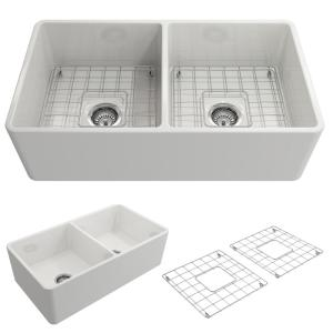 BOCCHI Classico Farmhouse Apron Front Fireclay 33 inch Double Bowl Kitchen Sink with Bottom Grid and Strainer in White by BOCCHI