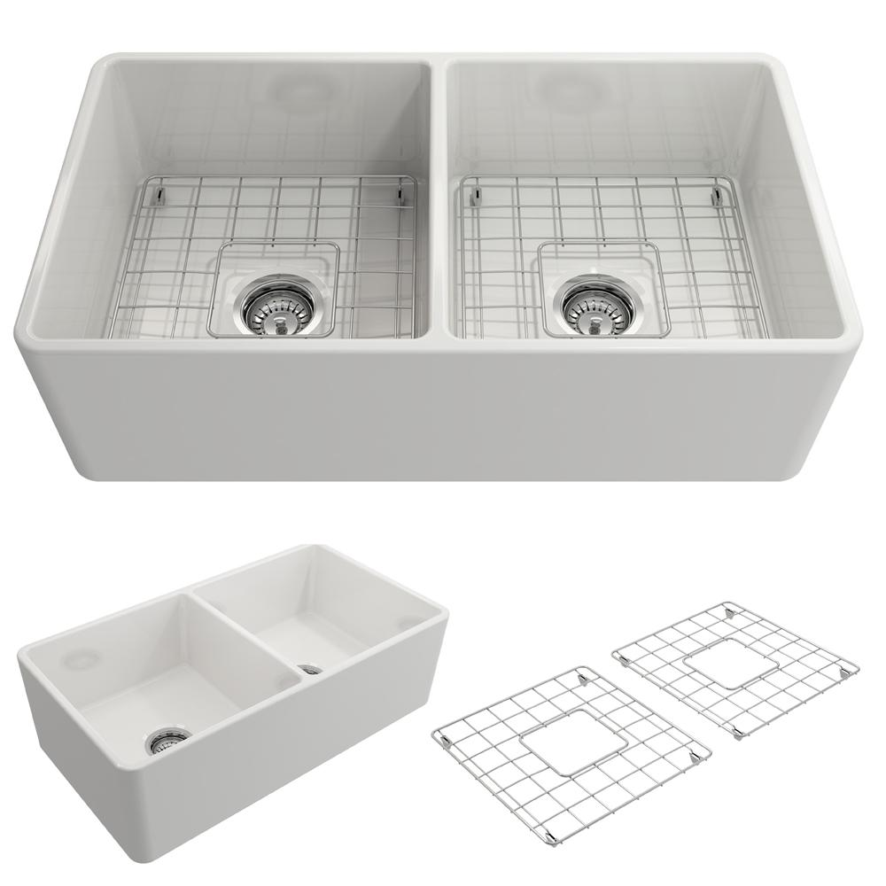 BOCCHI Classico Farmhouse Apron Front Fireclay 33 In. Double Bowl Kitchen  Sink With Bottom Grid