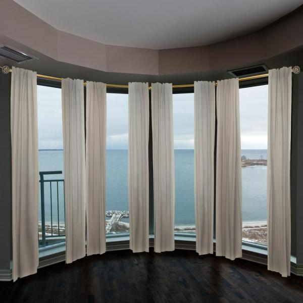Emoh 13 16 Dia Adjustable 4 Sided Bay Window Curtain Rod 28 To 48 Each Side In Antique Brass With London Finials H4bay 88 4 The Home Depot