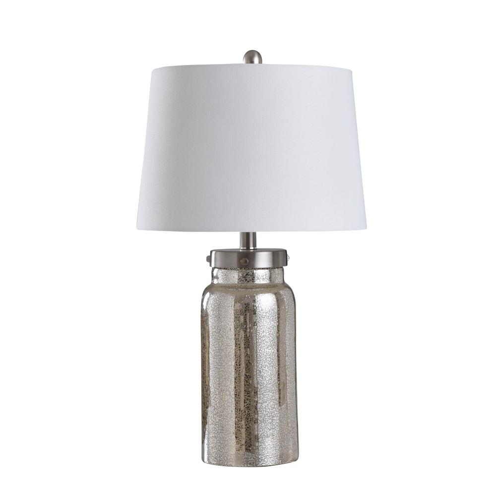 Stylecraft 25 In Mercury Silver Table Lamp With Brussels White Fabric Shade