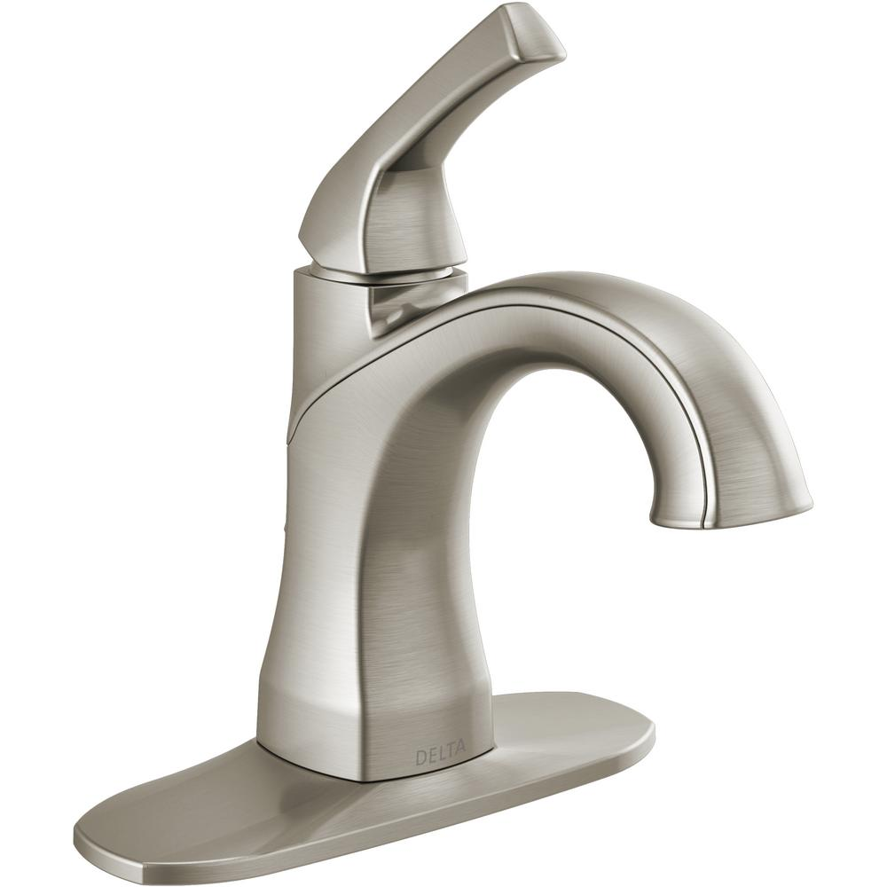 Delta Portwood 4 in. Centerset Single-Handle Bathroom Faucet in SpotShield Brushed Nickel