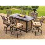 Traditions 7-Piece Aluminum Rectangular Outdoor High Dining Set with Fire Pit with Natural Oat Cushions