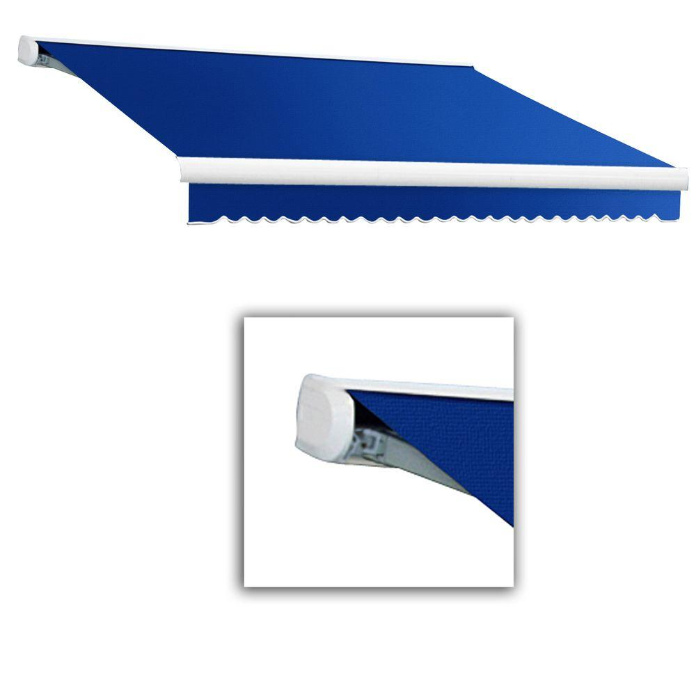 null 10 ft. Key West Left Motorized Retractable Awning (120 in. Projection) in Bright Blue