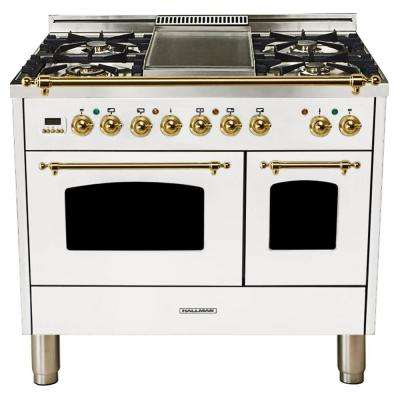 40 in. 4.0 cu. ft. Double Oven Dual Fuel Italian Range True Convection, 5 Burners, Griddle, LP Gas, Brass Trim in White