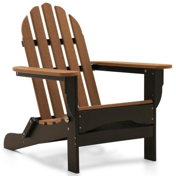 Icon Black and Antique Mahogany Recycled Folding Plastic Adirondack Chair