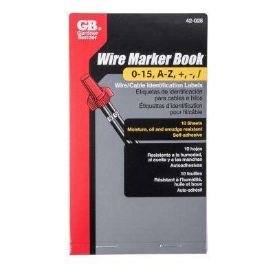 Wire Marker Booklet A-Z, 0-15, symbols