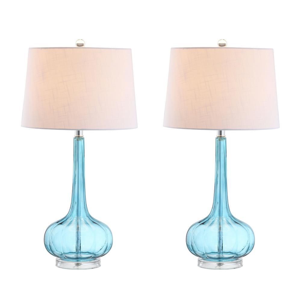 Bette 28.5 in. Aqua Glass Teardrop Table Lamp (Set of 2)