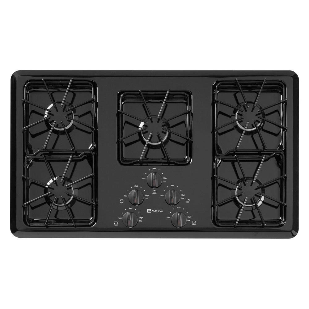 Maytag 36 in. Gas Cooktop in Black with 5 Burners including Power Cook Burners