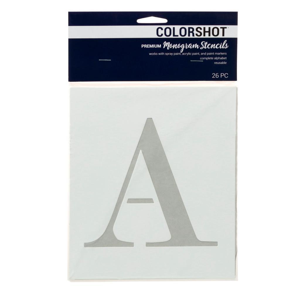 COLORSHOT Upper Case Block Alphabet Large Stencil (Set of 26)