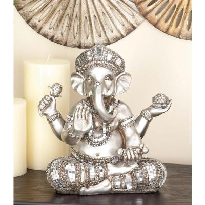 12 in. x 11 in. Decorative Sitting Ganesh Sculpture in Colored Polystone