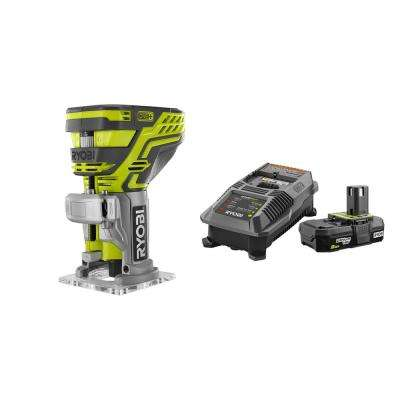 18-Volt ONE+ Cordless Fixed Base Trim Router with Lithium-Ion 2.0 Ah Battery, Dual Chemistry IntelliPort Charger