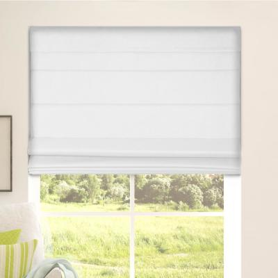 White Cordless Bottom Up Blackout Fabric Roman Shade 34 in. W x 60 in. L (Actual Size)