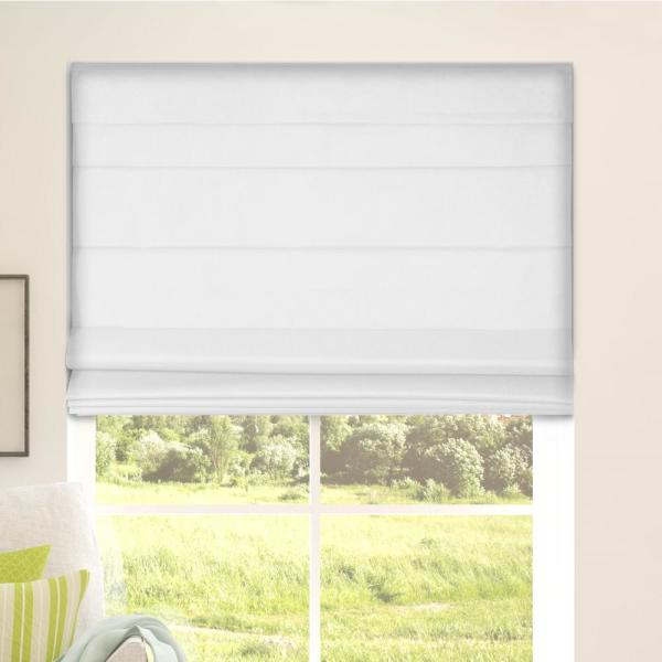 White Cordless Bottom Up Blackout Fabric Roman Shade 34.5 in. W x 60 in. L (Actual Size)