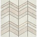 Limestone Presidio Ivory Ivory 11.97 in. x 12.4 in. Chevron Honed Limestone Mosaic Tile (1.031 sq. ft./Each)