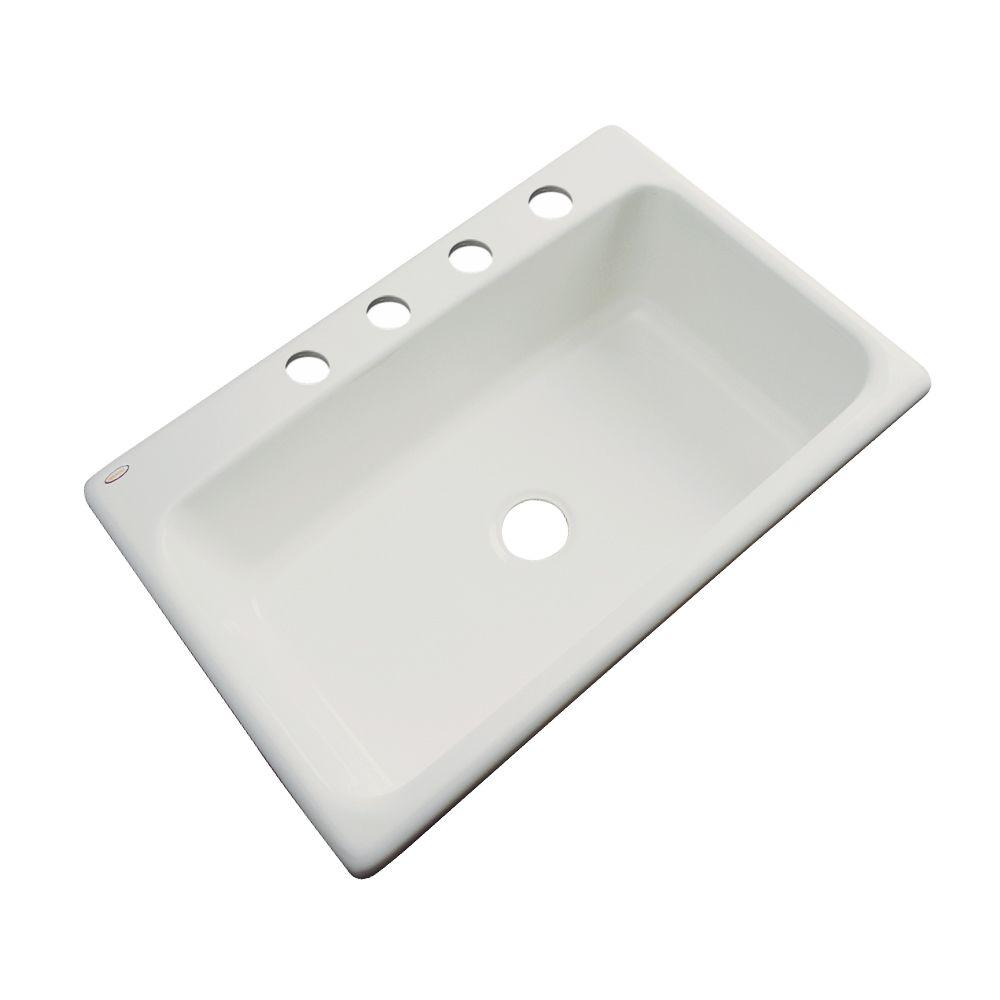 Thermocast Manhattan Drop-In Acrylic 33 in. 4-Hole Single Basin Kitchen Sink in Tender Grey