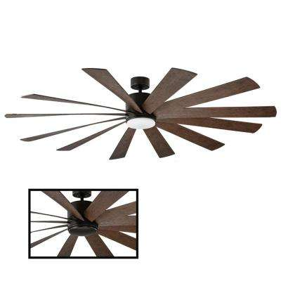 Windflower 80 in. LED Indoor/Outdoor Oil Rubbed Bronze 12-Blade Smart Ceiling Fan with 2700K Light Kit and Wall Control