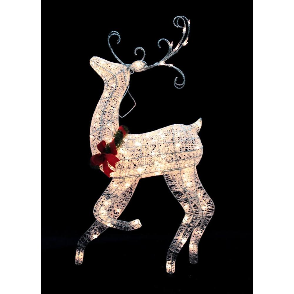 Home Accents Holiday 48 in. White Grapevine Reindeer Outdoor Decor