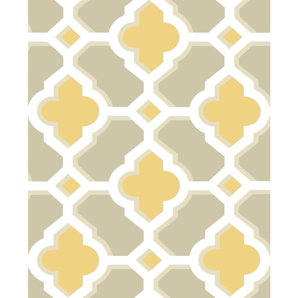 A-Street 56.4 sq. ft. Lido Mustard Quatrefoil Wallpaper-2744-24124 ...