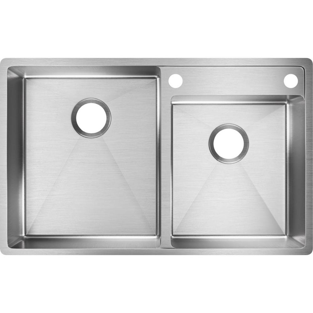 Crosstown Undermount Stainless Steel 33 in. 2-Hole Double Bowl Lowered Deck