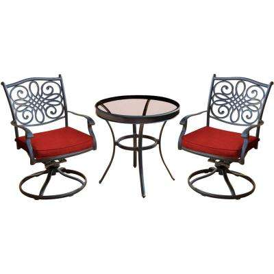 Traditions 3-Piece Outdoor Bistro Set with Swivel Rockers with Red Cushions