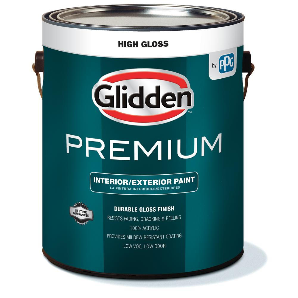 Glidden premium 1 gal high gloss interior and exterior paint gl7111 01 the home depot for Glidden premium interior paint reviews