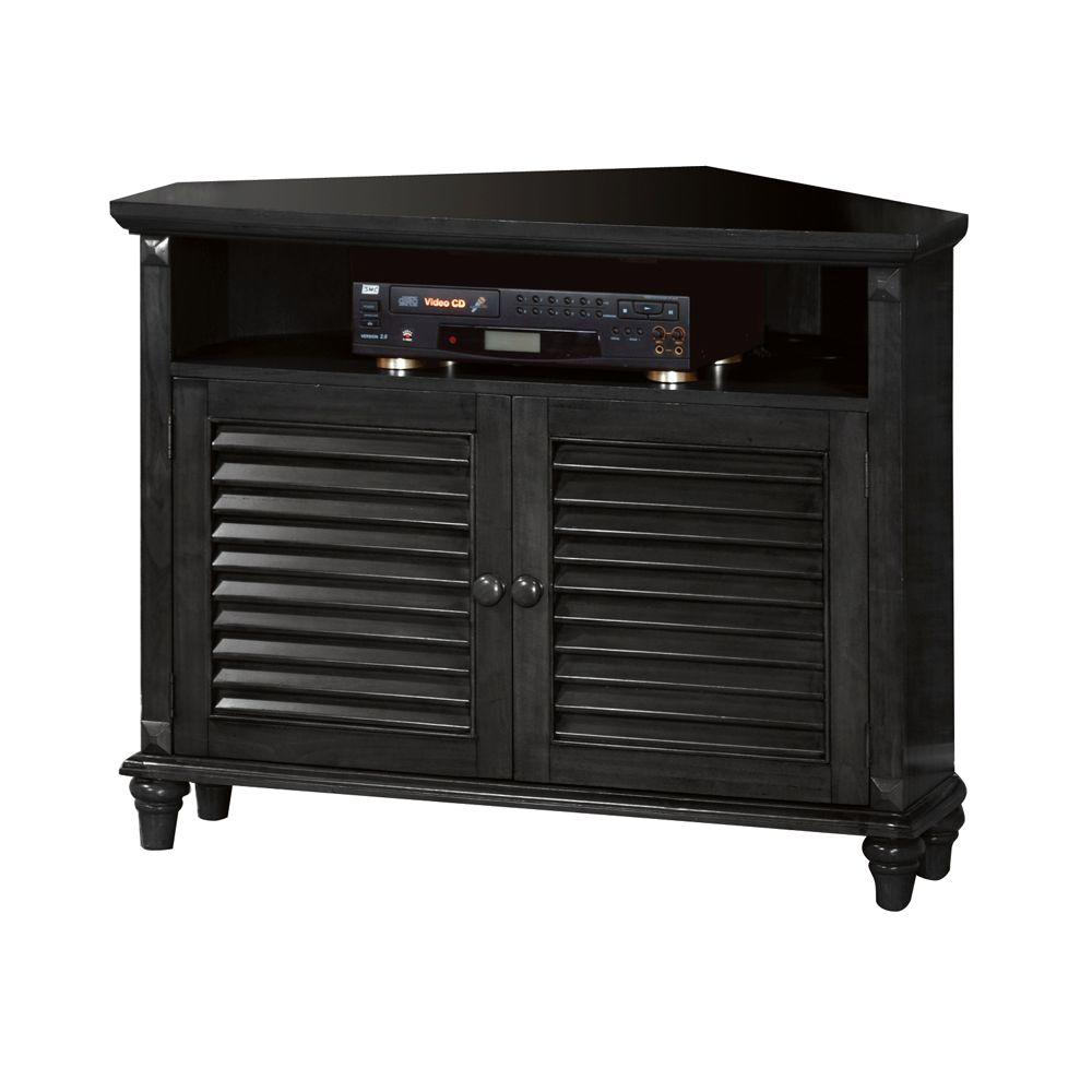 Home Decorators Collection Savannah Antique Black Louvered-Door Corner TV Stand