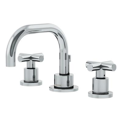 Dia 8 in. Widespread 2-Handle Low-Arc Bathroom Faucet with Cross Handles in Chrome