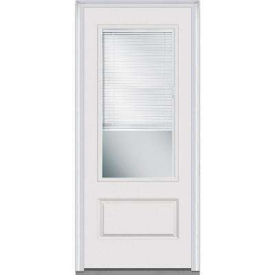 36 in. x 80 in. Internal Blinds Right-Hand Inswing 3/4 Lite 1-Panel Clear Primed Fiberglass Smooth Prehung Front Door