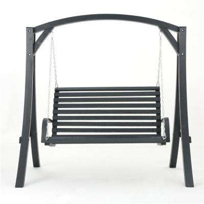 2-Person Gray Wood Patio Swing
