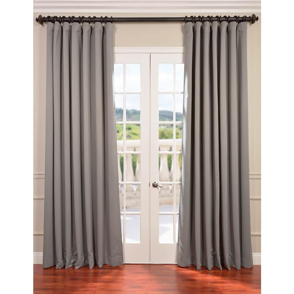 Exclusive Fabrics Furnishings Semi Opaque Neutral Grey Doublewide Blackout Curtain 100 In W X 120 L 1 Panel Boch 174402 Dw The Home Depot