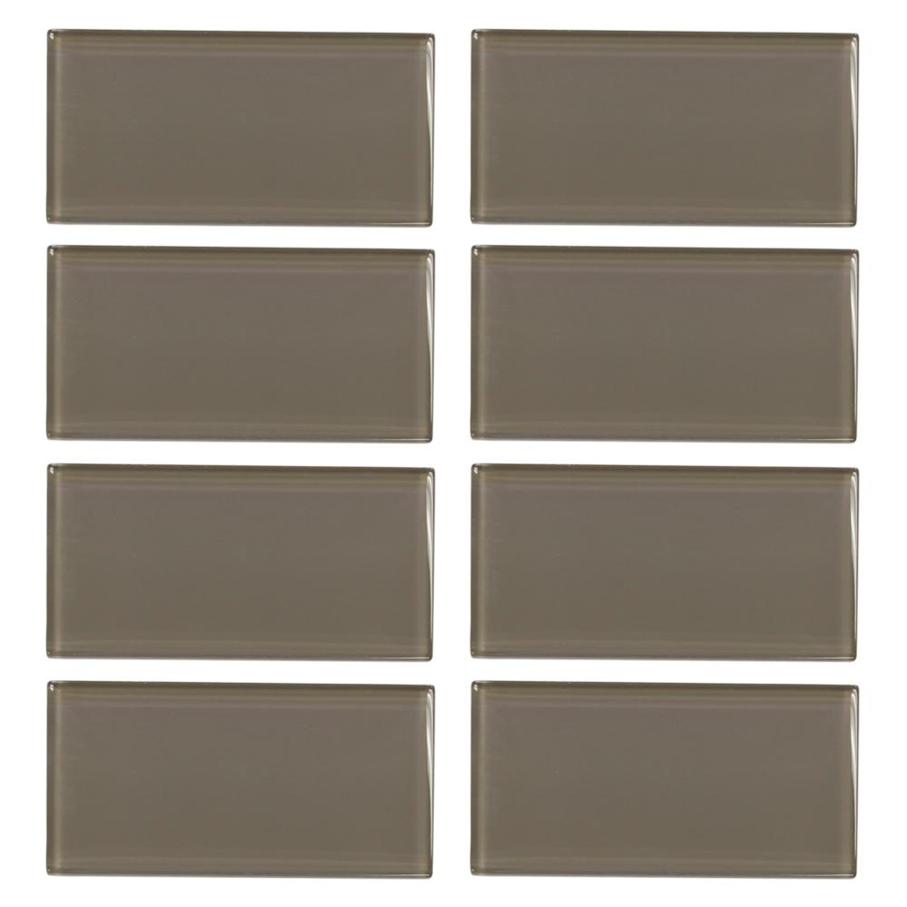 Fieldstone Gloss 3 in. x 6 in. Glass Wall Tile (8-pieces