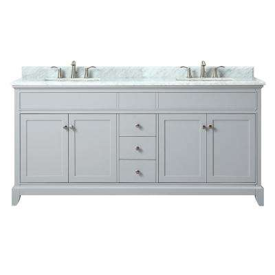 Aurora 73 in. W x 22 in. D x 34.5 in. H Vanity in Light Gray with Marble Vanity Top in Carrera White with Basin