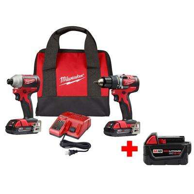 M18 18-Volt Lithium-Ion Brushless Cordless Compact Drill and Impact Driver Combo Kit (2-Tool) with Free 5.0 Ah Battery