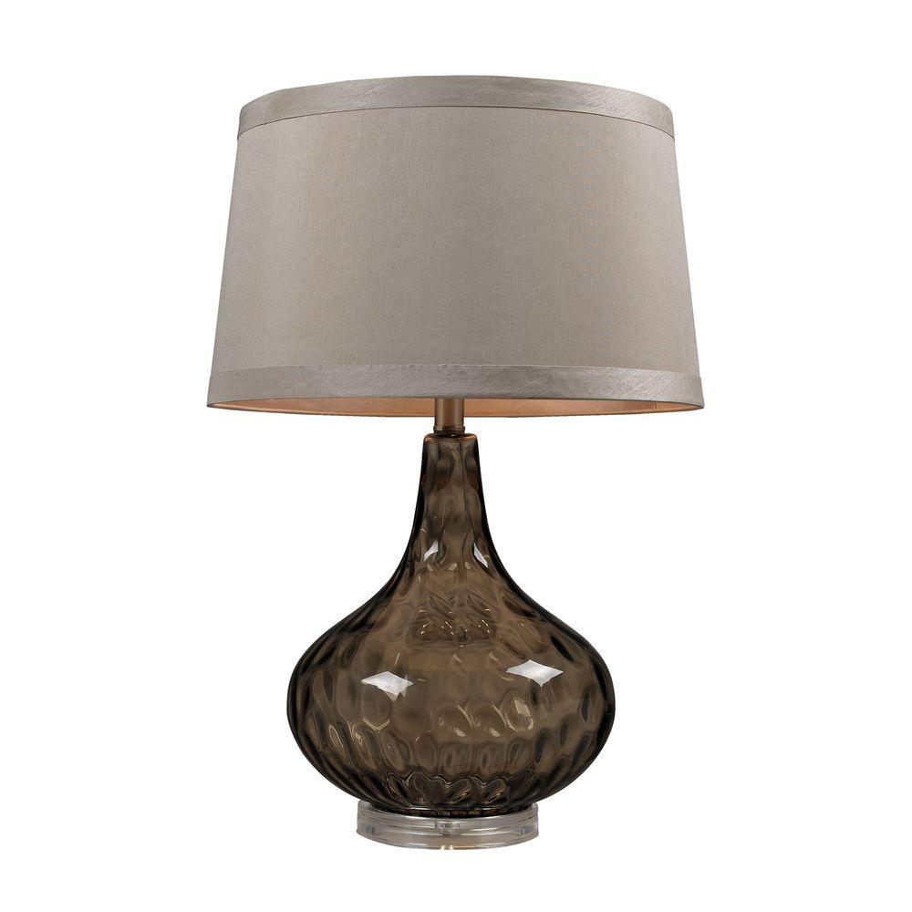 Titan Lighting 24 in. Coffee Smoke Water Glass Table Lamp...