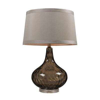 24 in. Coffee Smoke Water Glass Table Lamp with Taupe Shade