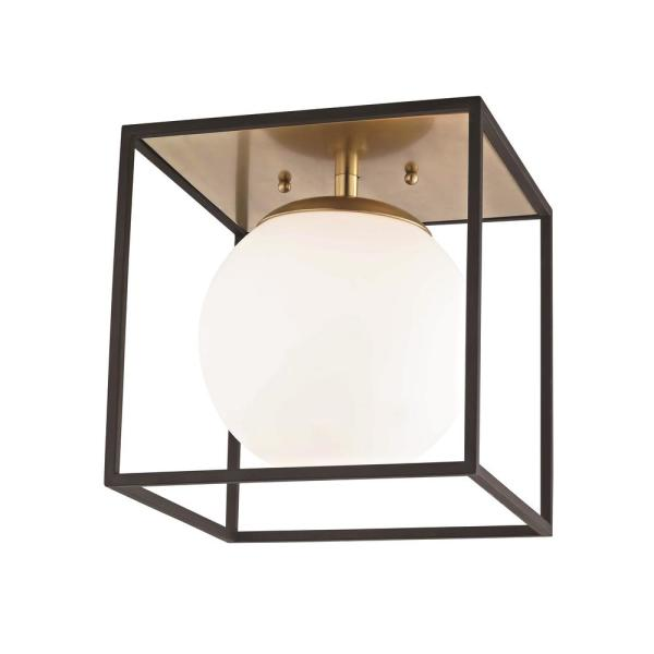Mitzi By Hudson Valley Lighting Aira 1 Light Aged Brass And Black Large Flush Mount With Opal Etched Glass And Black Accents H141501l Agb Bk The Home Depot