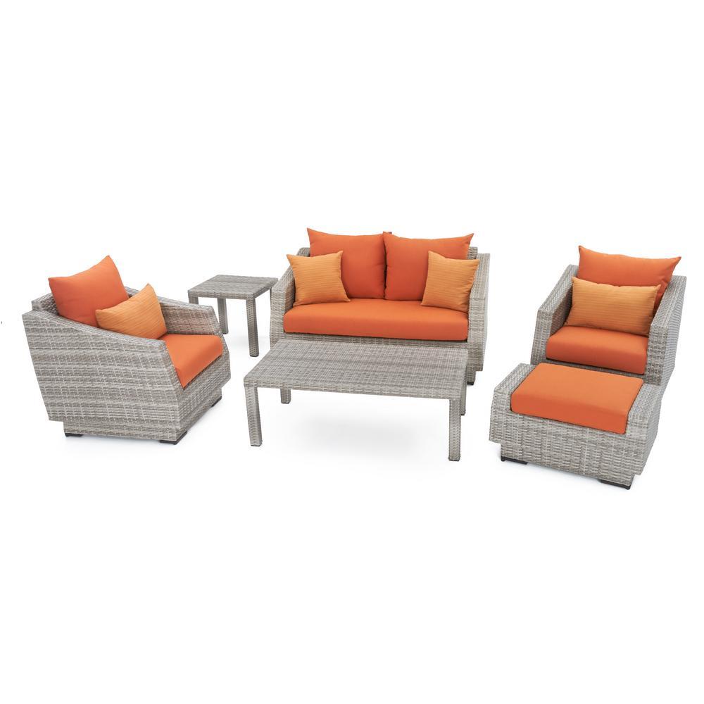 Cannes 6 Piece Loveseat Patio Deep Seating Set With Tikka Orange Cushions