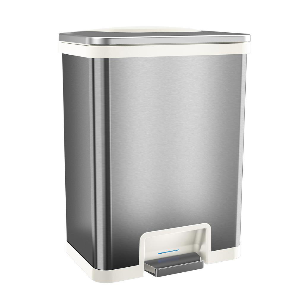 TapCan 13 Gal. Step Pedal Sensor Trash Can (White Trim)