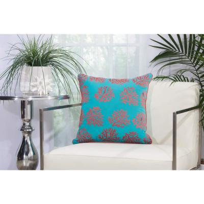 Corals Turquoise and Coral Floral Stain Resistant Polyester 18 in. x 18 in. Throw Pillow