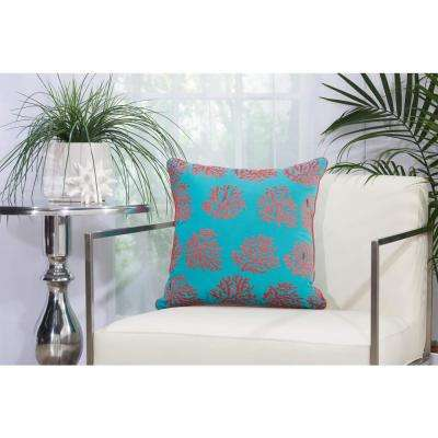Corals 18 in. x 18 in. Turquoise and Coral Indoor and Outdoor Pillow