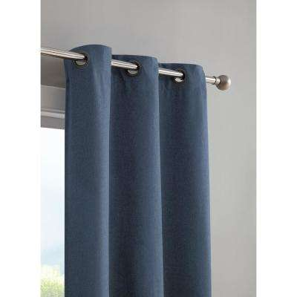 Henley Faux Linen Room Darkening 76 in. x 96 in. Grommet Curtain Panel Pair in Indigo
