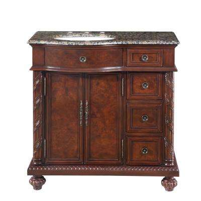 36 in. W x 22 in. D Vanity in English Chestnut with Granite Vanity Top in Baltic Brown with White Basin