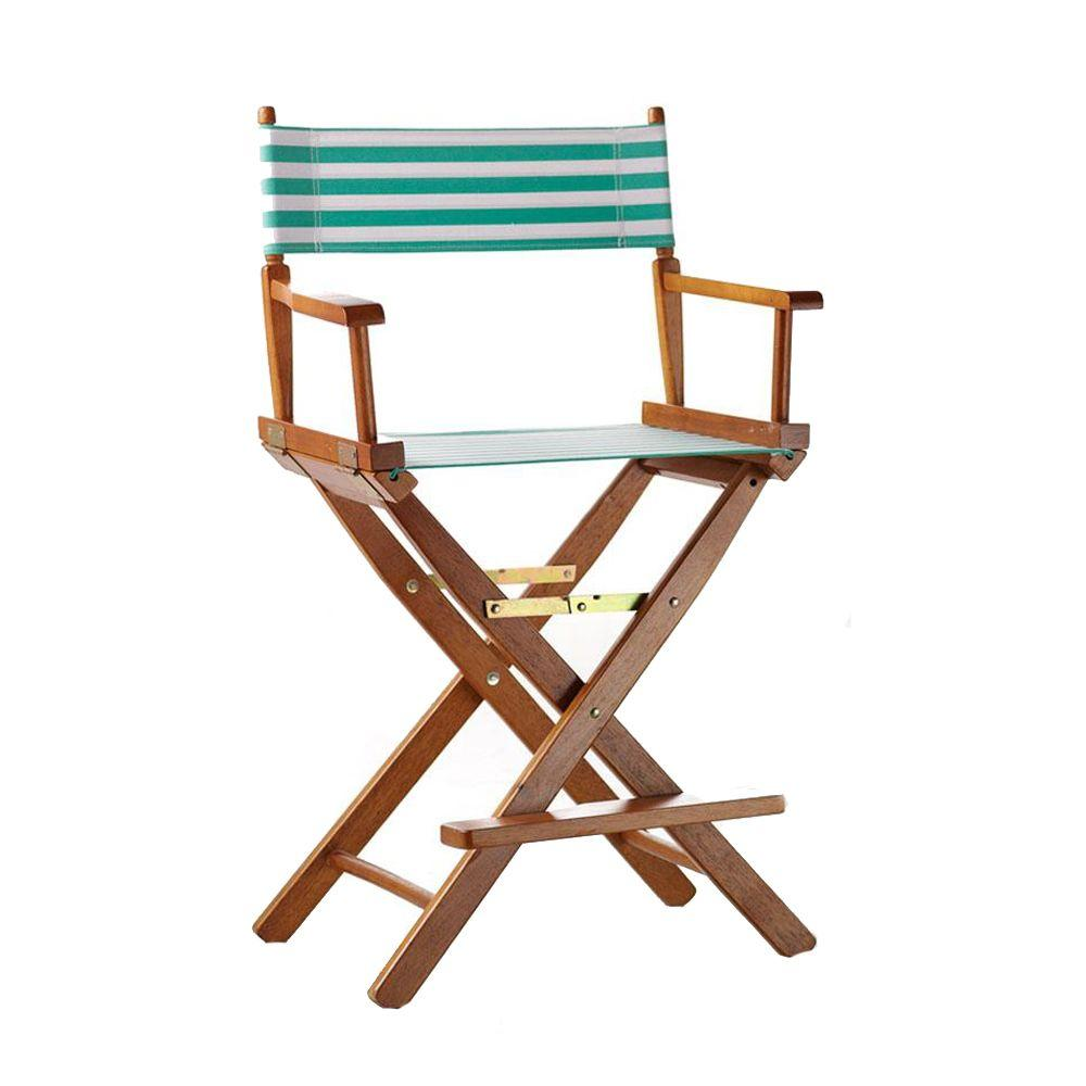 Home Decorators Collection Striped Teal and White 18.5 in. Seat and Back Folding Chair- Cover Only