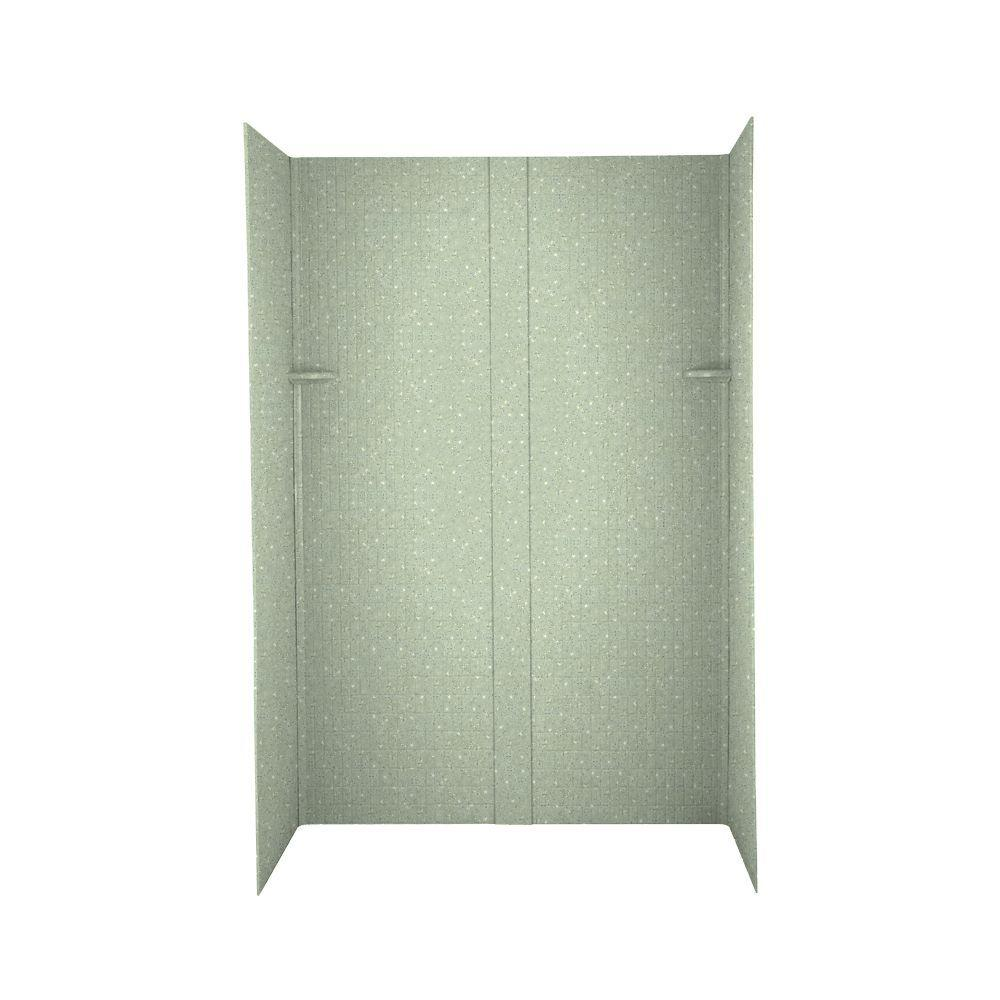 Swanstone Tangier 34 in. x 48 in. x 72 in. Five Piece Easy Up Adhesive Shower Wall Kit in Seafoam-DISCONTINUED