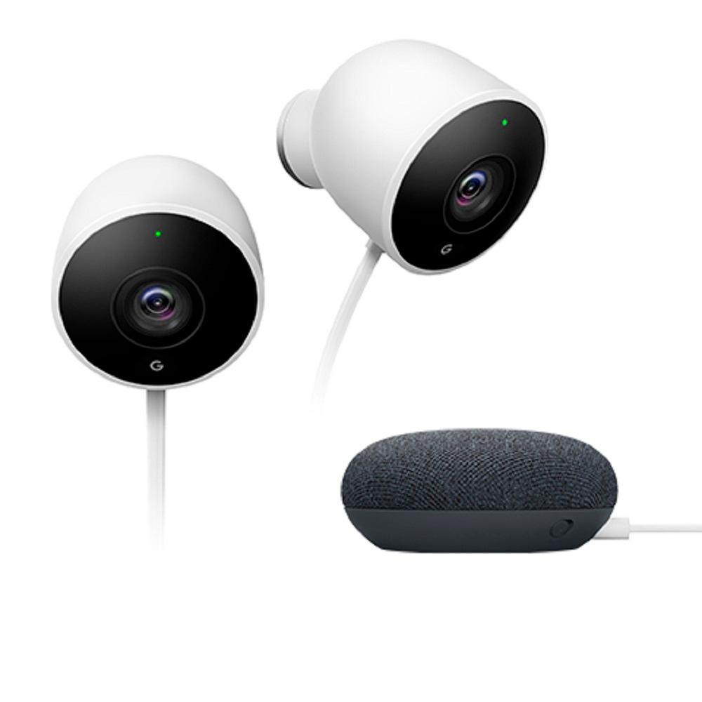 Google Nest Outdoor Cam Security Camera with Google Home Mini Charcoal (2-Pack)