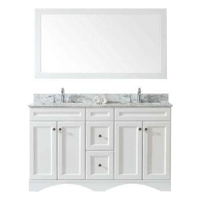 Talisa 60 in. W x 22 in. D Vanity in White with Marble Vanity Top in White with White Basin and Mirror