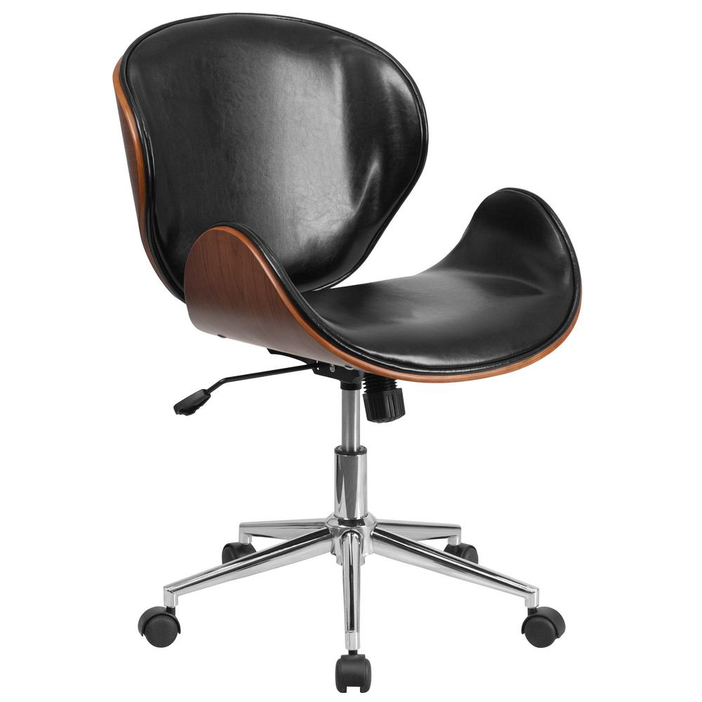 Flash Furniture Mid Back Walnut Wood Swivel Conference Chair In Black Leather