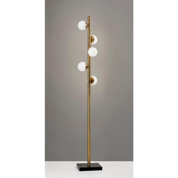 Adesso Doppler 65 In Led Brass Floor Lamp 4272 21 The Home Depot